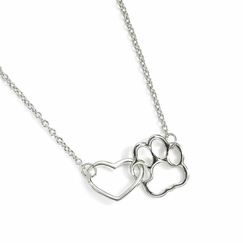 USA Women Fashion Pet Lover Dog Cat Paw Print Pendant Heart Necklace Chain Gift image 7
