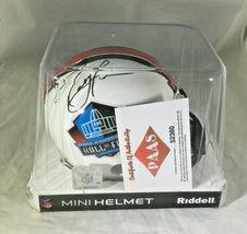 RAY LEWIS / NFL HALL OF FAME / AUTOGRAPHED HALL OF FAME LOGO MINI HELMET / COA image 8