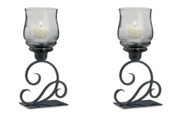2 Scrolling Flourish Black Candle Holders w/ Smoked Glass Candle Cups - $53.49