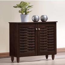 Dark Brown Finish Shoe Cabinet Wooden Storage Shelves Organizer Rack 9 P... - $103.94