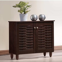 Dark Brown Finish Shoe Cabinet Wooden Storage Shelves Organizer Rack 9 Pairs - $103.94