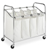 4 Bag Laundry Hamper Chrome Four Laundry Bins Storage Removable BAGS BRA... - $68.00