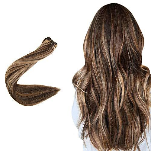 "Easyouth Natural Hair Weft Remy Human Hair Sew in Hair Extensions 14"", 70g, Colo"