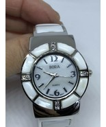 Covered Vintage Style Mother Of Pearl Stone Bangle Cuff Bracelet Watch - $44.55