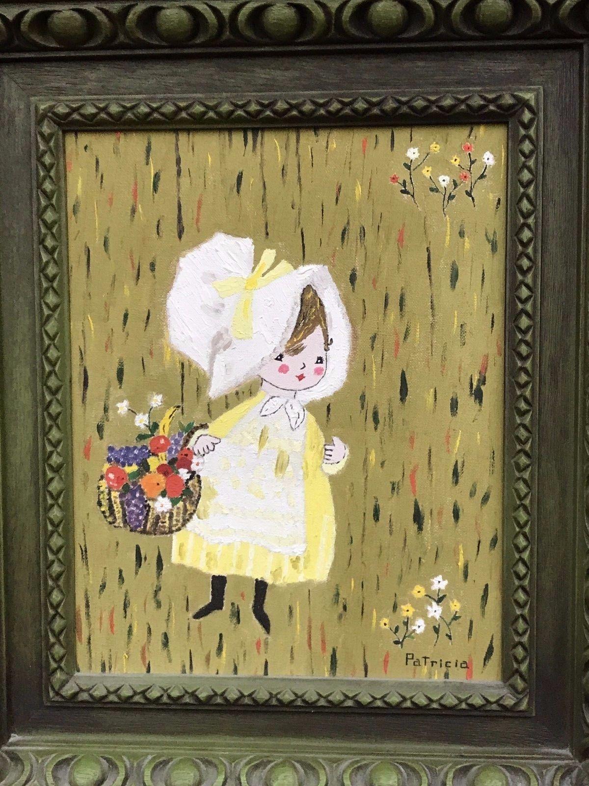 "PATRICIA WELCH ""Flower Girl"" Original Mid Century Modern Vintage Oil on Board"