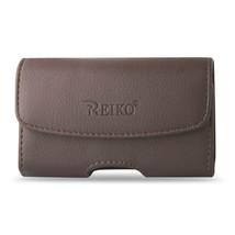 Brown Leather Belt Loop Case Horizontal fits Alcatel Go Flip phone - $14.84