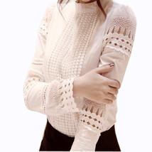 "S-5XL Autumn Women""s Shirts White Long-sleeved Blouses Slim Basic Tops P... - $20.00"