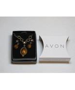 Womens Avon Faux Tiger's Eye Necklace & Earrings gift set F3662651 NIB;; - $21.77