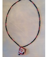 Handmade Beaded Artisan Santa Clause  Necklace Fashion Jewelry Red & Gre... - $14.84
