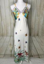 Natori Angel Fish Charmeuse Nightgown Slip White/Multi Size Small - $23.38