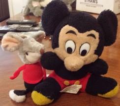 "Vintage 1970s Disney Parks Disneyworld 8"" Mickey Mouse Stuffed Plush & A... - $8.60"