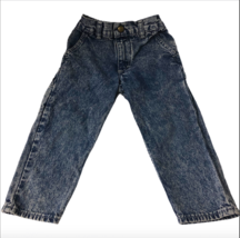 Vintage Oshkosh B Gosh Acid Wash Denim Carpenter Jeans Toddler 3T USA Boy Girl - $26.99