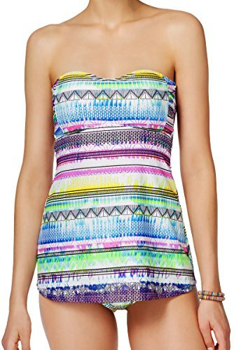 Jessica Simpson 2 Piece Tankini Set - A-Line Empire Waist Easy Fit Bandeau Swims