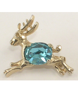 Reindeer Scatter Pin Gold Colored Metal & Ice Blue Stone Belly Tiny Brooch - $8.00