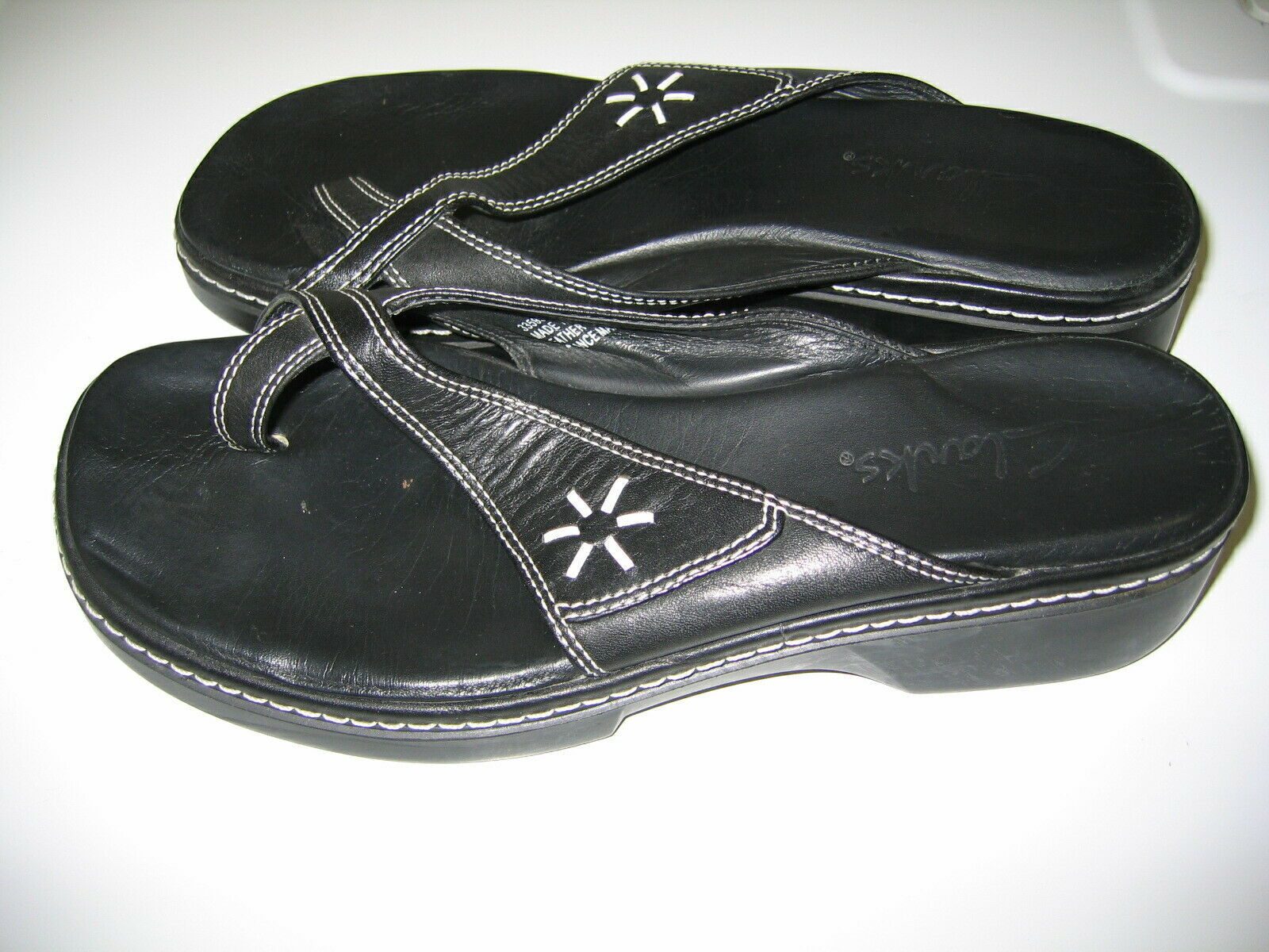 Clarks Leather SANDALS Black Womens Shoes size 8 image 3