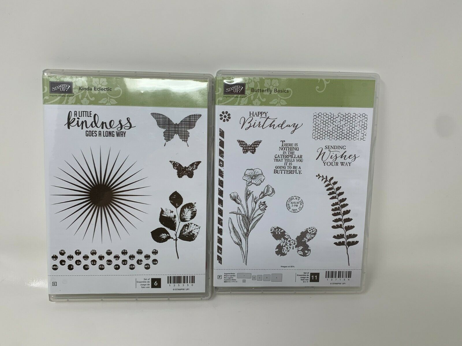 Primary image for Stampin Up Butterfly Basics & Kinda Eclectic Kindness Photopolymer Stamp set NEW