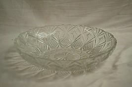 Vintage Clear Press Glass Centerpiece Fruit Bowl Waffle Star Designs MCM - $29.69