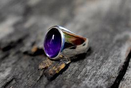 925 Sterling Silver Natural Fine Quality Amethyst Gemstone Handmade Men's Ring image 3