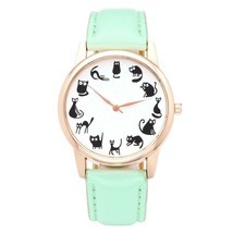Fun Animal Series Twelve Cute Cats Scale Rose Golden Case PU Leather Strap - $20.83