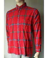 Van Heusen Red Plaid Flannel Button Up Shirt Cotton Large - $9.89