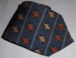 Structure Men's 100% Silk Neck Tie Abstract Blue Gray Gold Orange Made In USA  - $8.99