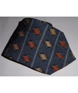 Structure Men's 100% Silk Neck Tie Abstract Blue Gray Gold Orange Made I... - $8.99