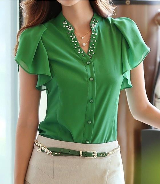 Hot New Summer Fashion Leisure women shirt V-neck Flouncing short sleeve chiffon
