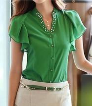 Hot New Summer Fashion Leisure women shirt V-neck Flouncing short sleeve chiffon