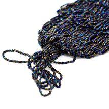 Vintage Iridescent Glass Beaded Drawstring Bead Flapper Evening Bag Clutch Purse image 4