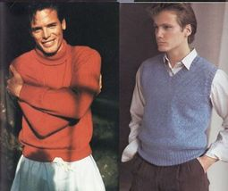 Vtg Vogue Mens Knits 25 Designs Tennis Sailing Ski Cricket Sweaters Patterns image 4