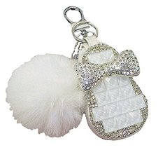 PANDA SUPERSTORE White Fur Ball Car Key Case Key Sets Key Holder Key Chain Sets