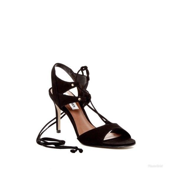 426dd1b9291 Womens Steve Madden Black Suede Leather Heels Lace Up Sandal Shoe Sz 7.5 NIB