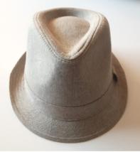 Nuevo Hombre Negro Chambray Gris Algodón Sombrero Fedora Con Manchas M/L Nwt