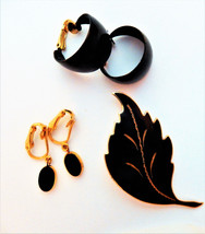Vintage Trifari clip on earrings black leaf brooch pin gold tone jewelry... - $10.84