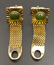 Vintage Gold tone mesh green hardstone Cuff Links  Cufflinks - $9.85