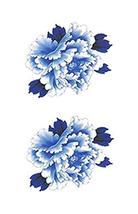 1 Set Of Unique Blue Flowers Pattern Tattoo Stickers Waterproof