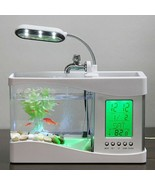 USB Desktop Mini Fish Tank Aquarium Glass LCD Timer Clock LED Lamp Light - $98.99