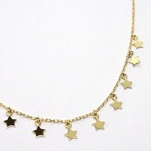 18K YELLOW GOLD NECKLACE WITH PENDANT FLAT STARS STAR, 16.5 INCHES MADE IN ITALY image 2