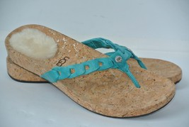 Ugg Australia Womens Sz 8 Aqua Blue Leather Flip Flop Sandals 1804 Worn Once - $39.59