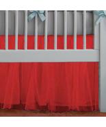 Red Tulle Lined Ruffled Crib Skirt / Mini Crib Skirt - $39.99+