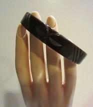 Vintage Carved Bakelite Chocolate Brown  Bangle  Bracelet - $28.45