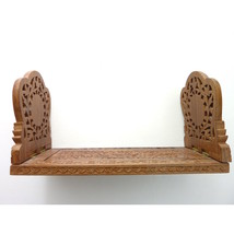 Wonderful Vintage Extending Wooden Book Slide with Intricate Carving Mor... - $55.00