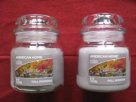 Lot of 2 Yankee Candle Fall Morning - Autumn - 12 oz Medium Gray Jar Can... - $30.00