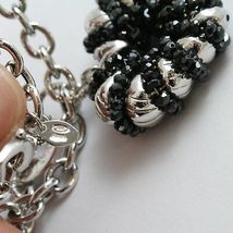 Necklace Silver 925, Rolo ' with Heart Pendant Milled and Spinel Black image 4