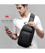 Black Chest Packs Men Casual Shoulder Crossbody Travel Messenger Bag Male - £38.53 GBP