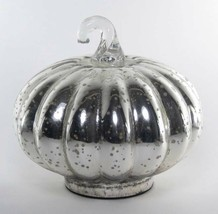 "New 5.5"" Tall Silver Mercury Glass Pumpkin Fall Halloween Thanksgiving D... - $21.73"