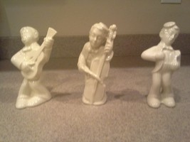 Vintage White Porcelain Musicians - Cello, Guitar, Singer, Marked, Germany? - $25.00