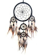 OMA Dream Catcher Traditional SUEDE Black Color With Feathers & Beads, 7... - $21.80