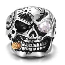 Titanium Stainless Steel Skull Ring Vintage Punk Goth Biker sz 12 New image 3