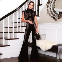 Summer Runway Fashion Sleeveless Black Lace Mesh Illusion Designer Jumpsuit image 1